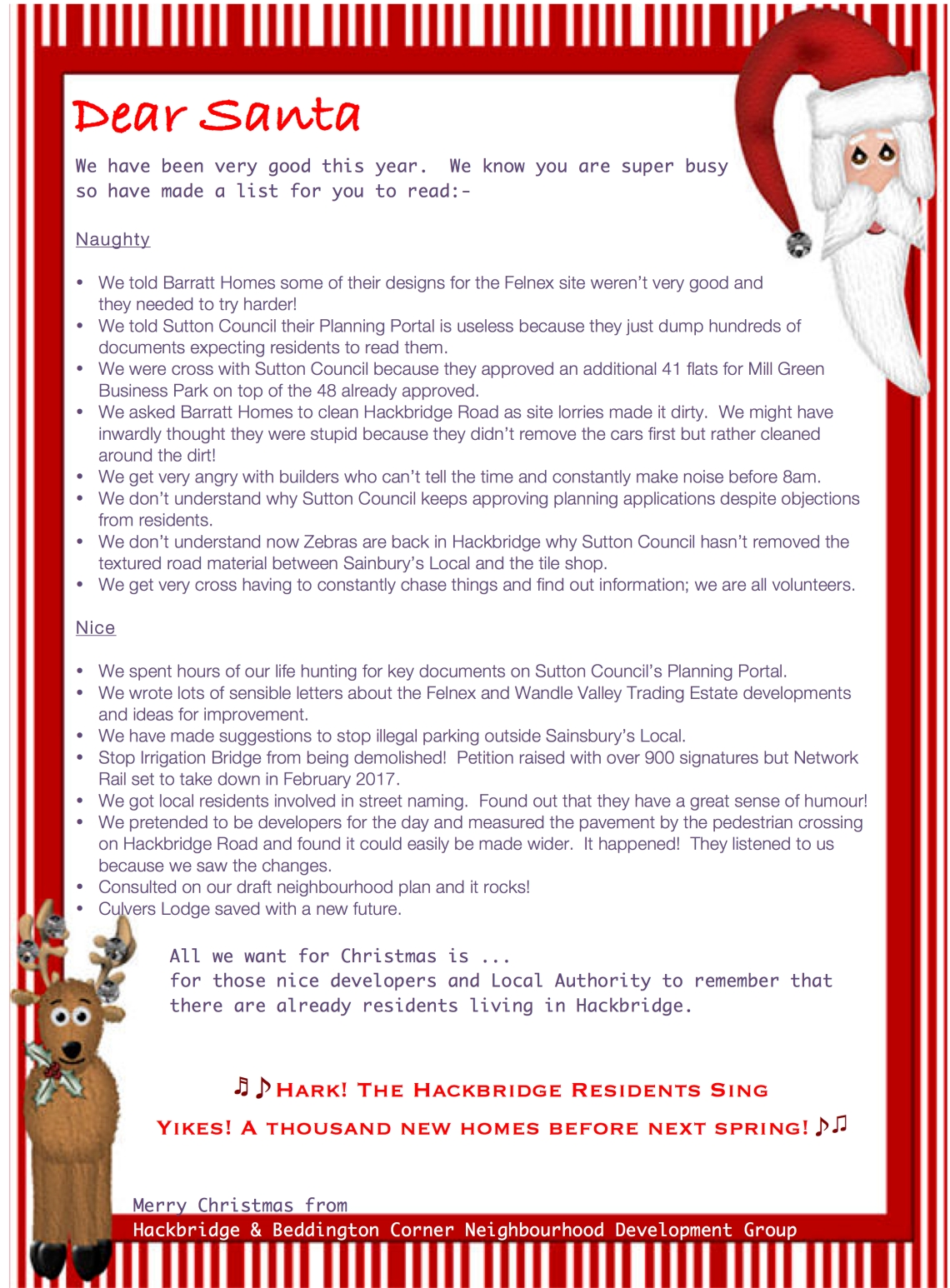 Our Letter To Santa  Hackbridge  Beddington Corner Neighbourhood