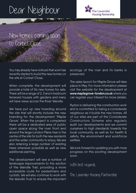 Lavender Housing Partnership newsletter - May 2017
