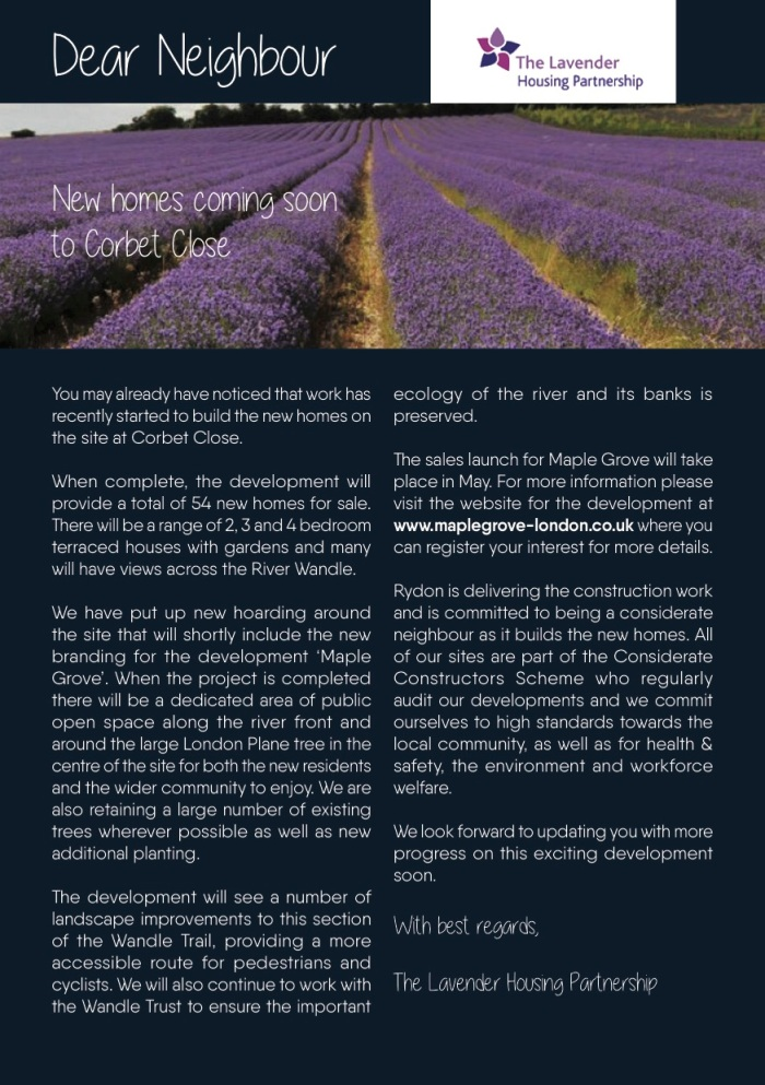 Lavender Housing Partnership newsletter - May 2017