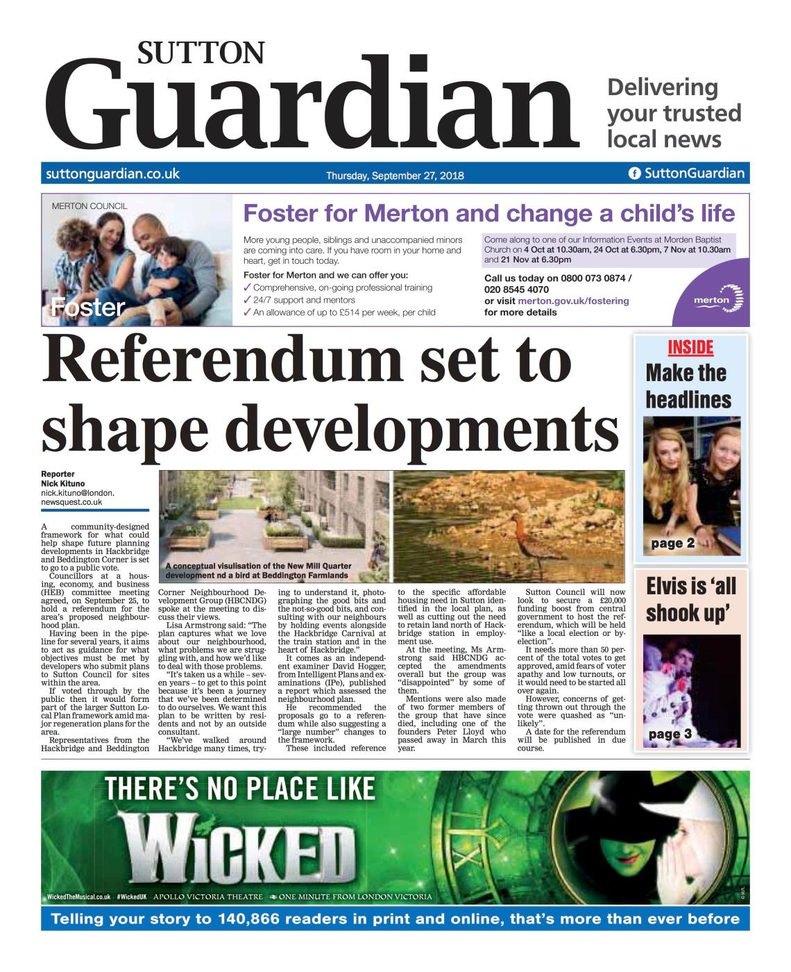 Sutton Guardian article - 27 Sept 2018